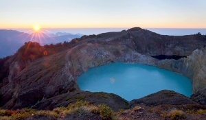 Amazing Kelimutu Lake at Sunrise